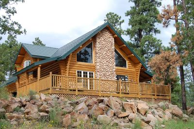 2,000+ sq ft cabin that offers panoramic views of the forest and wildlife.