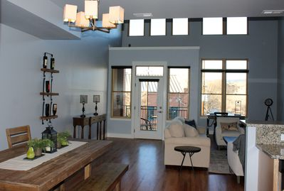 Big, open, vaulted ceilings, everything here is brand new and beautiful.