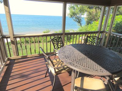 Photo for Directly on the Beach, with Beautiful Bay Views from Private Screened