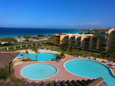 Photo for BEACHFRONT - EAGLE BEACH - OCEANIA RESORT - Tropical Penthouse 1BR condo - BG532