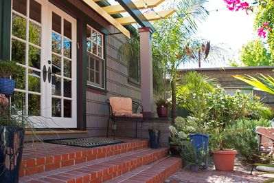Rear entrance to Casita with french double doors.