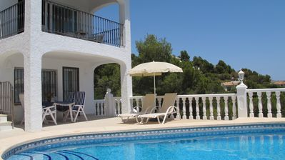 Photo for Private villa with private pool and beautiful sea views, 3 KM to the beach.