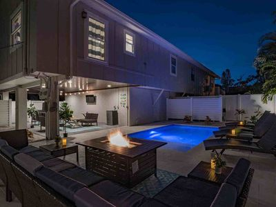 Photo for Beach home w/ exquisite backyard - firepit, private heated pool, grill, and TV