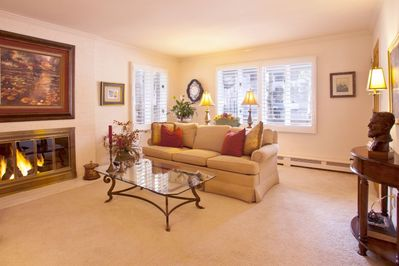 Comfortable living space with an artistic touch, gas fireplace and nice sunlight.