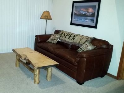 Leather furniture with log coffee table