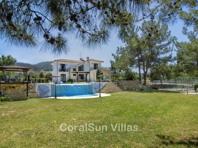 Photo for Amazing Huge Pool (6x12m) and Garden, Tennis Court,  Walking to Beach