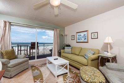 Beach living at it's finest - right on the beach!  - Enjoy this wonderful gulf view right from your living room at the lovely beachfront condo.