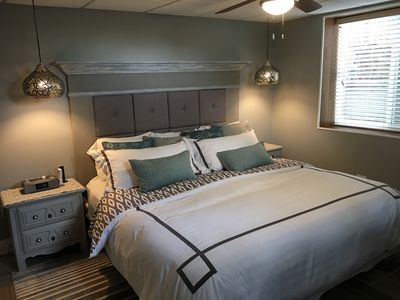 King size bed.  Our guests have all said it is extremely comfortable.