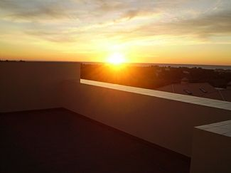 Sunrise view from the rooftop terrace