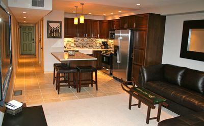 Gourmet Kitchen, Stainless steel appliances, granite counter tops, Island seats