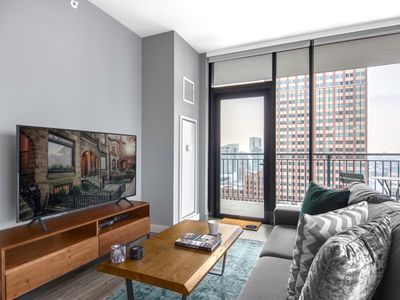 Photo for Airy + Urban Gold Coast 1BR near Mag Mile w/ Gym by Blueground