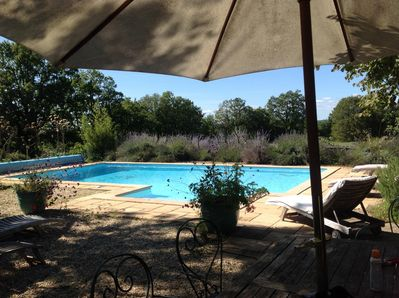 Pool with seating for sun and shade