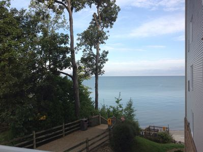 View from private balcony . This is the actual view of the lake.  West side