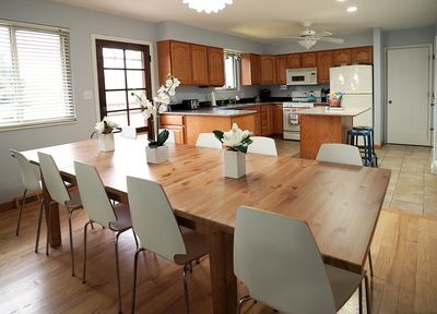 Seating for 10-12 in this well-stocked kitchen