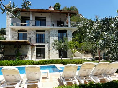 Photo for Luxury Family Villa on the Sea with Private Pool and Large Garden in Western Turkey + WIFI