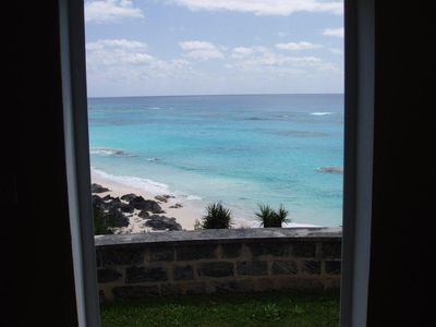 View from the living/dining room. Beach is a 60 meter walk away.