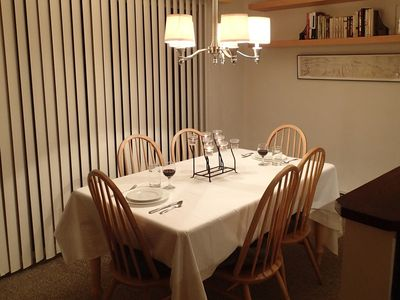 Lovely dining area comfortably seats 6