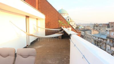 Experience spring at the 10th floor Penthouse terrace overlooking Belgrade,enjoy
