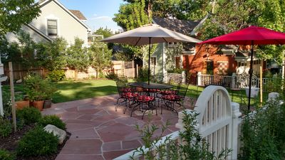Backyard patio and lawn