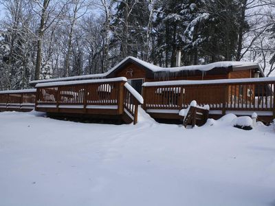 Photo for Three bedroom cabin w/garage nestled on 6 1/2 acres in The Great Northwoods.