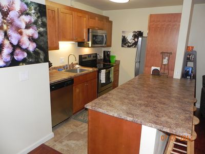 New kitchen, new appliances, lots of light and a great view. Very well stocked.