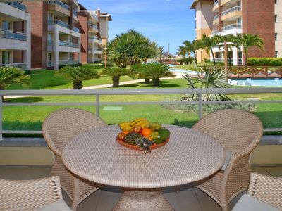 Photo for 105m² apt on the beach, sleeps 9, 3 bedrooms and 3 bathrooms with pool view