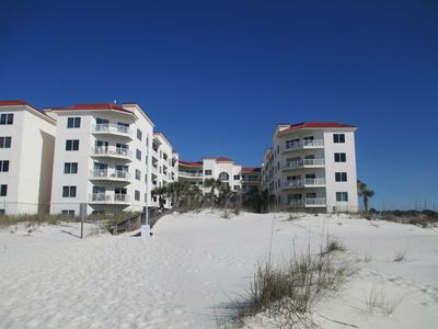 looking from the beach to the condo.