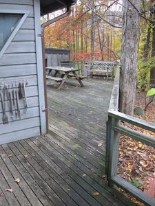 Deck with grill and picnic table (pet can be safely enclosed here)