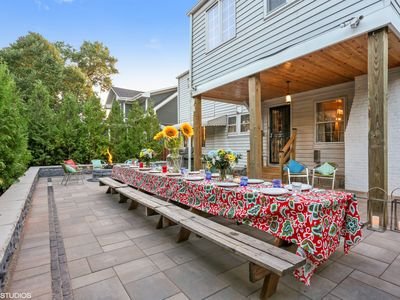 Photo for Private courtyard, gas firepit, 200 steps to Lake Michigan beach, 8BRs 5 Ensuite