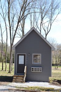 Front view of the cozy cabin