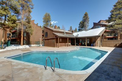 Enjoy spending time with friends and family outside in the heated outdoor pool.