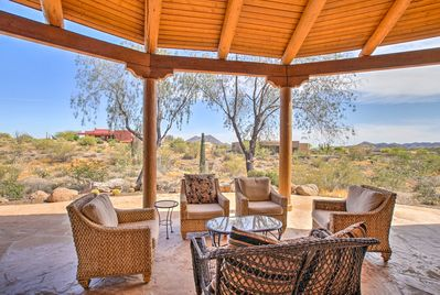 This desert oasis features 3 bedrooms and 2 bathrooms.