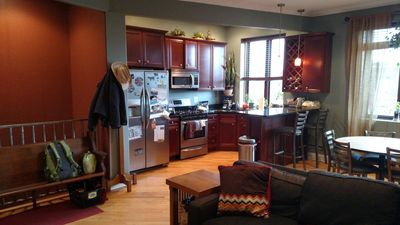 Open living room/kitchen/dining