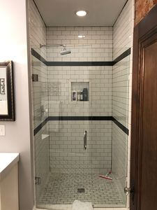 Large shower and bathroom! Subway tile and rainshower head!