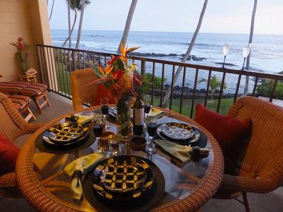 Photo for Absolute Oceanfront Kona Bali Kai Condo-steps from the waves!