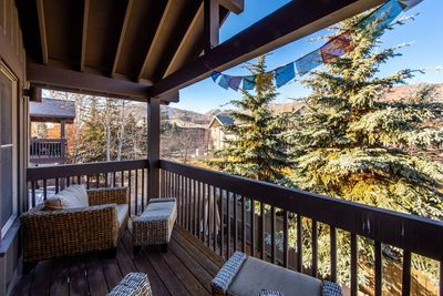 Jupiter View. Sitting on the private balcony in your own bubble of Zen, gazing at the ski resort, checking out the day.