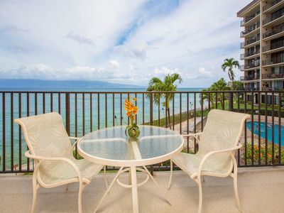 Photo for Waterfront getaway w/furnished balcony, ocean view & shared pool