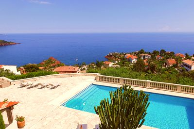 Pool area with beautiful panorama view.