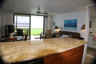 ocean view from kitchen and living area