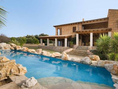 """Photo for """"Can Bregat"""" Modern finca with magnificent sea views with private tennis court"""