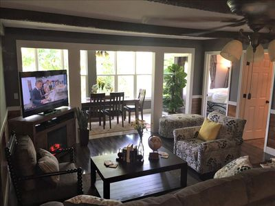 Main Room With 55 Inch HDTVand Fireplace