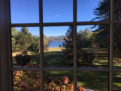 View from the living room to the water in fall