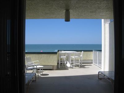 Actual view of the beautiful Gulf of Mexico and beach from inside the condo.