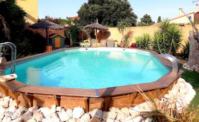 Photo for Gite saint julien in rez of garden with terrace swimming pool and games.