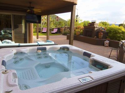 Photo for CDC Approved Cleaning! Check out views! Private patio: Hot Tub, BBQ, TV & Fireplace. Great Location