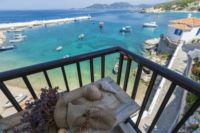 balcony.just a stone's throw away from the sea