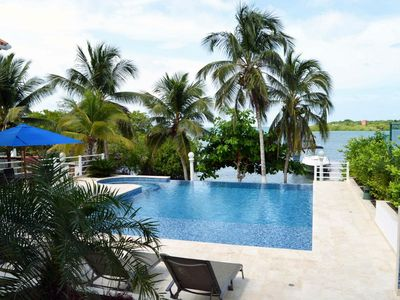 Photo for Luxury oceanfront home on Baru Island with pool, views of Cholon & private boat dock