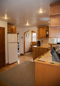 The kitchen and into the breakfast nook.