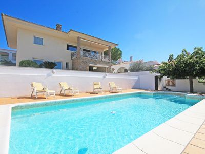 Photo for Neus: Villa with pool and sea view 500m from the beach