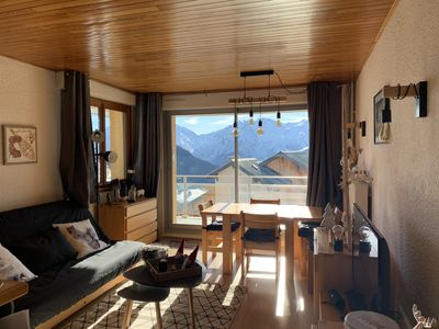 Photo for Alpe d'Huez Appart 37m2 + terrace 16m2 - Village and mountain view - 4/5 pers